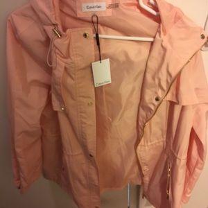 Nwt Calvin Klein peach rain jacket large